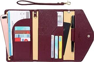Zoppen Passport Holder Travel Wallet (Ver.5) for Women Rfid Blocking Multi-purpose Passport Cover Document Organizer Strap, Wine Red
