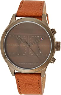 Tommy Hilfiger 1791594 Mens Quartz Watch, Analog Display and Leather Strap, Brown