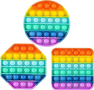 مجموعه اسباب بازی های حسی ASONA Pop Fidget ، Push Bubble Popping It بازی سیلیکونی اضطراب استرس ضد اضطراب اوتیسم مواد یادگیری هدیه برای کودکان و نوجوانان بزرگسال (رنگین کمان 3 بسته)