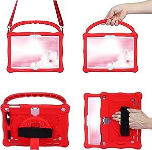 AIJAKO Case for Dragon Touch Notepad K10 Max10/MatrixPad S30 S10 Z4/ZONKO K105/qunyiCO Y10/PRITOM M10/AOYODKG 10.1/HAOQIN HaoTab H10/MEBERRY M7/FLYINGTECH 10,Rotating Kickstand Hand/Shoulder Strap,Red