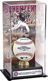 Sports Memorabilia Max Scherzer Washington Nationals 300 Strikeouts in a Season Gold Glove Display Case with Image - Baseball Free Standing Display Cases