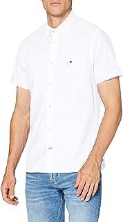 Tommy Hilfiger Men's Slim Cotton Linen Shirt S/S Sweatshirt