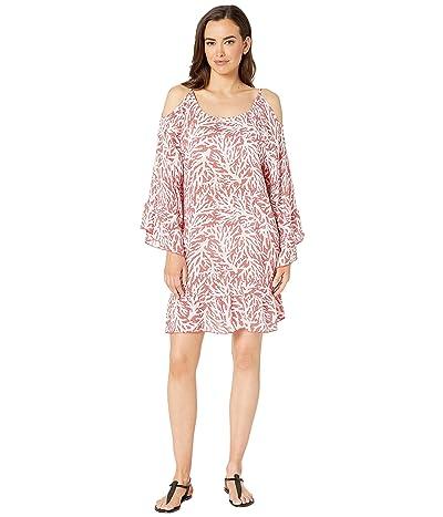 MICHAEL Michael Kors Off the Shoulder Cover-Up Dress (Sea Coral) Women
