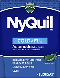 Vicks NyQuil Cough, Cold & Flu Nighttime Relief, 48 LiquiCaps - #1 Pharmacist Recommended, Nighttime Sore Throat, Fever, a...