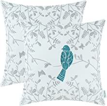 CaliTime Pack of 2 Cotton Throw Pillow Cases Covers for Bed Couch Sofa Cute Bird in Gray Garden Embroidered 18 X 18 Inches Teal