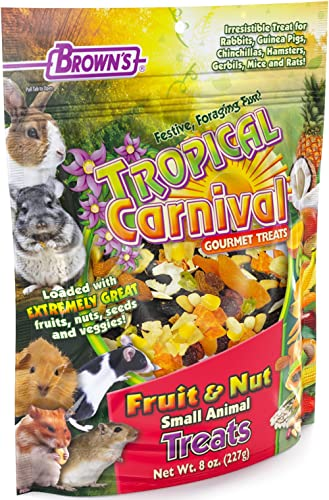 F.M. Brown's Tropical Carnival Fruit & Nut Small Animal Treat, 8-oz Bag - Real Fruits, Nuts, and Veggies for Rabbits,...