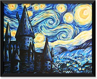 Serif Design Studios British Castle - Style of Van Gogh Starry Night - Unframed Art Print or Greeting Card