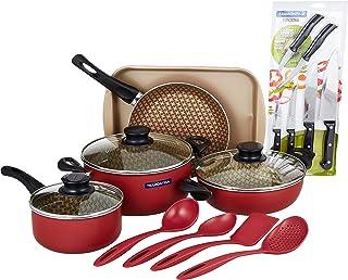 Tramontina Complete kitchen set: 7 Pcs NonStick Cookware Set + 6 Kitchen Knives + 4 Nylon nonscratching utensils + 1 Roast...