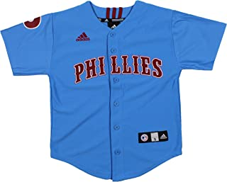 adidas MLB Philadelphia Phillies Cooperstown Collection Youth Boys Jersey, Blue