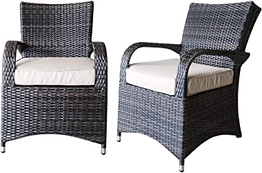 PATIOPTION Patio Set Outdoor Wicker Patio Furniture Sets Modern Bistro Set PE Rattan Chair Conversation Dining Sets (Round Ta