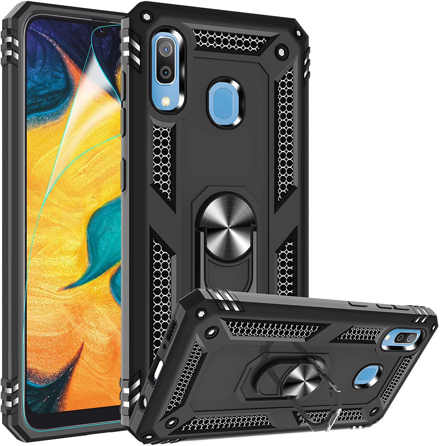 Compatible for Samsung Galaxy A20 Case, Galaxy A30 Case with HD Screen Protector, Gritup Military-Grade Shockproof Protective Phone Case with Magnetic Kickstand Ring for Samsung A20 / A30 Black