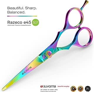 "SUVORNA 5.5"" Professional Barber Multicolor Titanium Razor Edge Hair Cutting Shears..."