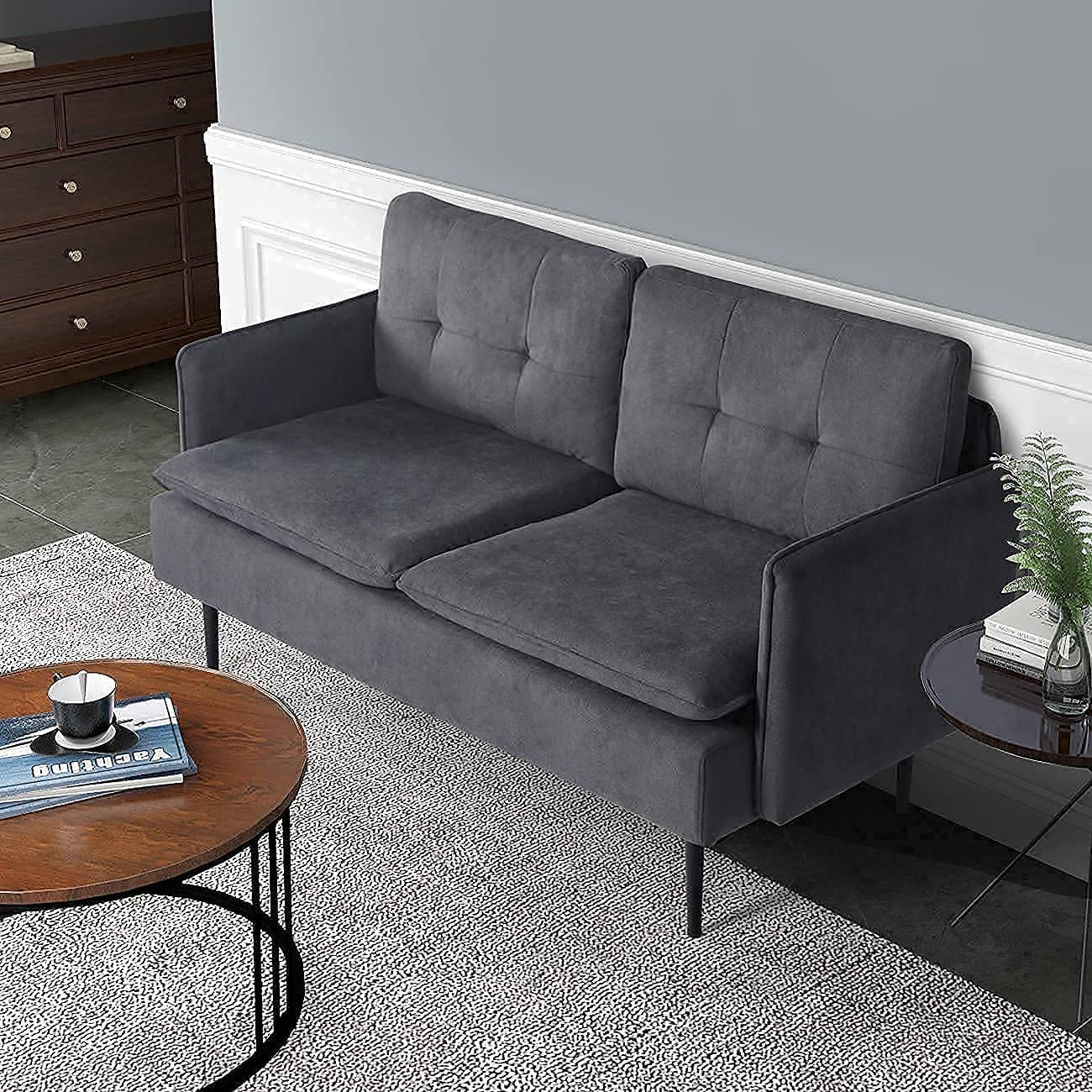 AODAILIHB Upholstered Loveseat Sofa with Metal Legs for Small Space Tufted Cushions Soft Sectional 2-Seat Couch for Living Room, Office, Apartment (Grey, A)