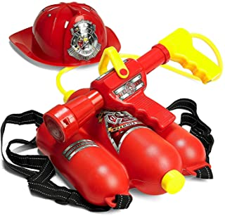 Prextex Fireman Backpack Water Shooter and Blaster with Fire Hat- Water Gun Beach Toy and..