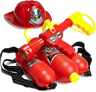 Prextex Fireman Backpack Water Shooter & Blaster with Fire Hat- Water Gun Beach Toy & Outdoor Sports Toy, PR-FFWC667