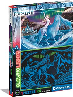Clementoni 27548 Lights Collection-Disney Frozen 2, Glow in The dark-104 Pieces-Jigsaw Kids Age 6-Made in Italy, Cartoon P...