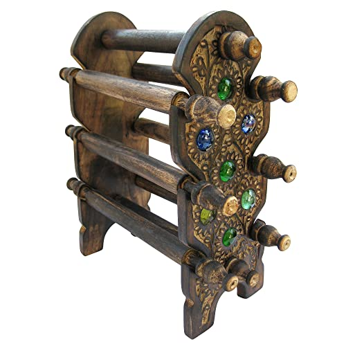 ITOS Handmade Wooden Bangle Holder Jewellery Stand for Women Carving 12 Inches