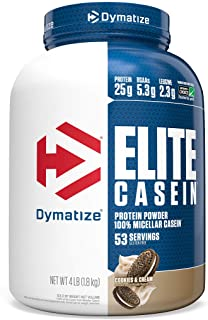 Dymatize Elite Casein Protein Powder, Slow Absorbing with Muscle Building Amino Acids, 100% Micellar Casein, 25g Protein, ...