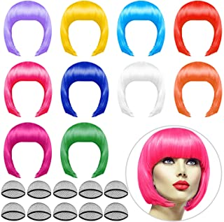 PLULON 10 Pieces Party Wigs and 10 Pieces Wig Caps Set, Neon Short Bob Wig Pack Costume Colorful Cosplay Wig Daily Party H...