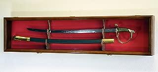 1 Sword Display Case Cabinet Stand Holder Wall Rack Box - Lockable w/ 98% UV Protection -Walnut Finish