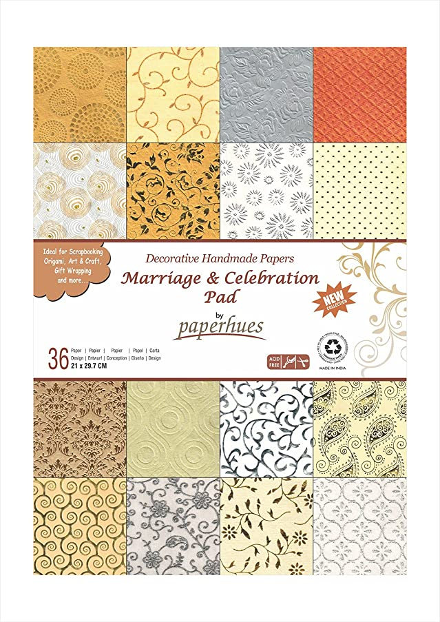 Paperhues Wedding Scrapbook Paper 8.5x11 Pad, 36 Sheets Celebration Pad. Decorative Specialty Handmade Origami Paper Pad for Wedding Cards, Gift Wrap, Scrapbook, Decor, Art Craft Projects
