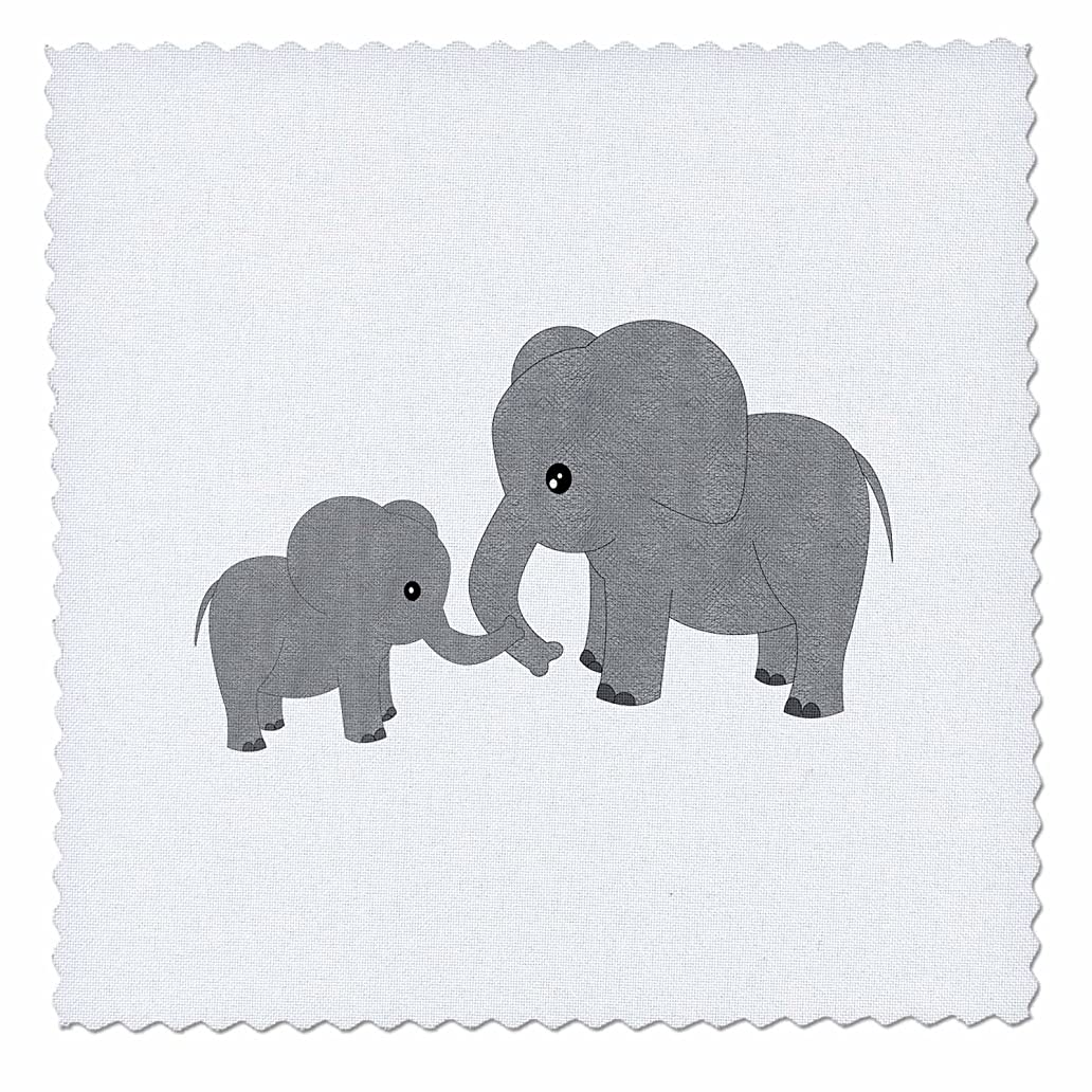 3dRose Mom and Baby Elephant-Quilt Square, 12-inch (qs_195248_4) orm3859969