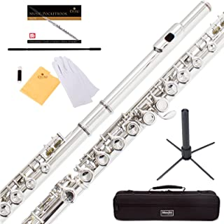 Mendini Closed Hole C Flute with Stand 1 Year Warranty Case Cleaning Rod Cloth Joint Grease and Gloves (Nickel Plated)