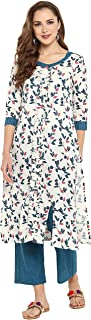 Janasya Women's Cotton Floral Print Straight Kurta With Straight Pant