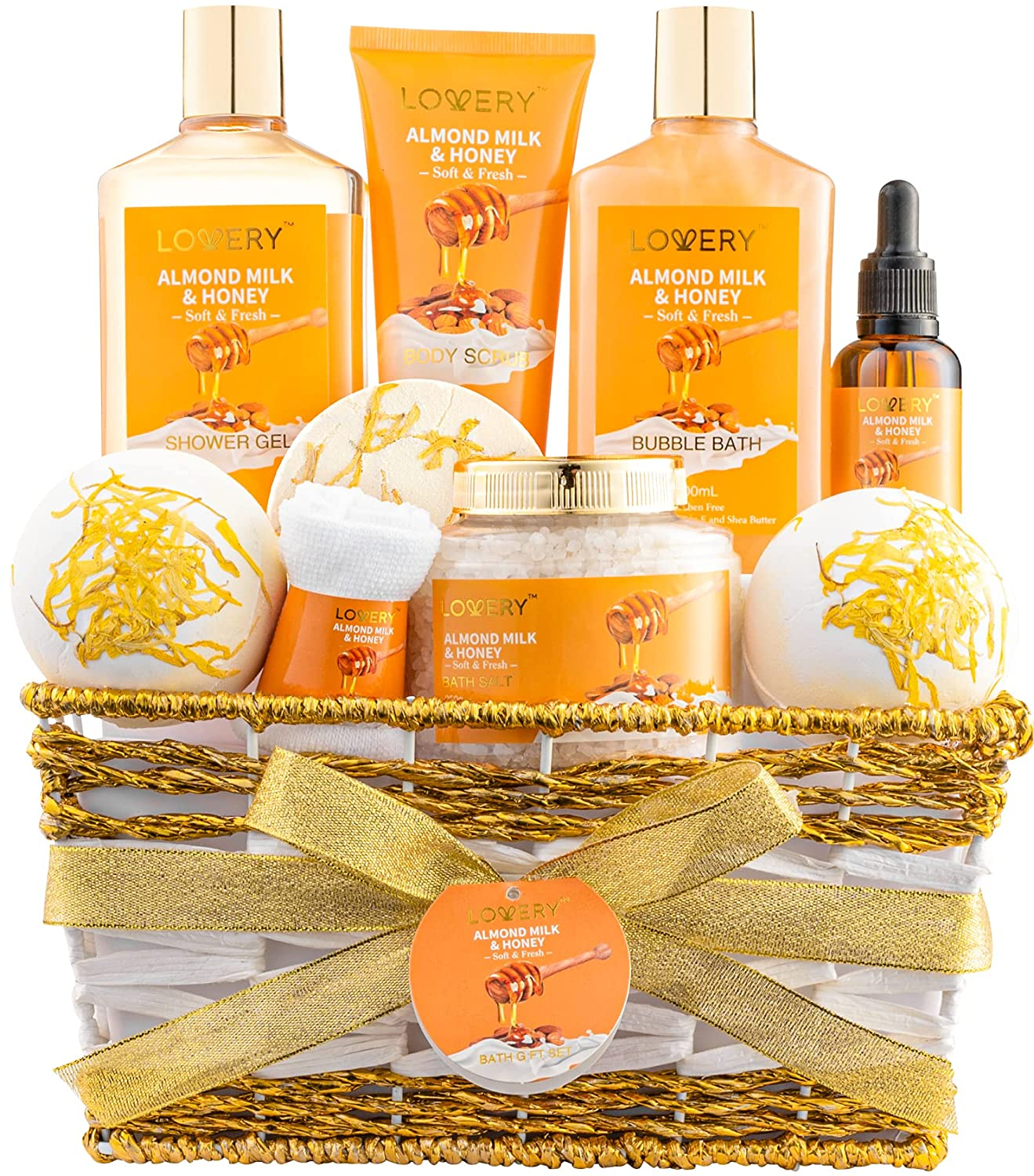 Gift Basket For Women – 10 Pc Almond Milk & Honey Beauty & Personal Care Set - Home Bath Pampering Package for Relaxing Stress Relief - Spa Self Care Kit - Thank You, Birthday, Mom, Mother's Day Gift