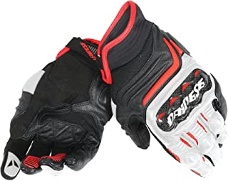 Dainese Carbon D1 Short Adult Micro Sheep Leather Gloves, Black/White/Lava-Red, Small/SM