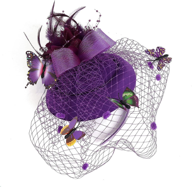 LATIMOON Fascinator Hats for Women Pillbox Hat Kentucky Derby Fascinators Flower Batterfly Veil Tea Party Wedding Party Hat.