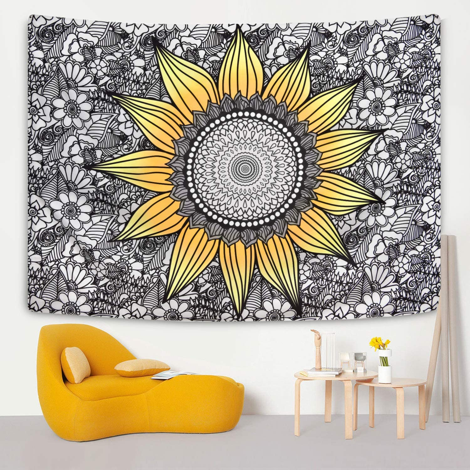 Sunflower Tapestry Yellow and Elegant Black Floral Factory outlet Plants Flowe