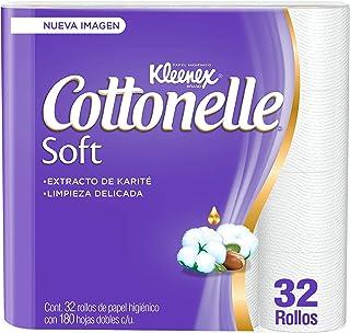 Kleenex Cottonelle Soft, Papel Higiénico, Paquete de 32 Rollos con 180 Hojas Dobles