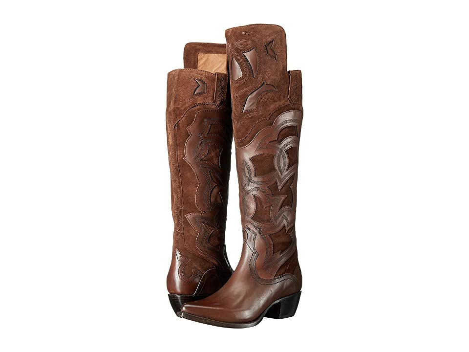 Frye Shane Embroidered Cuff (Whiskey Smooth Veg Calf/Oiled Suede/Haircalf) Cowboy Boots