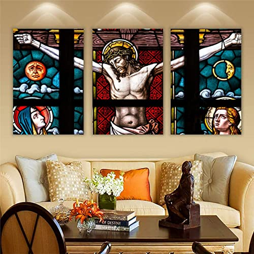 Wall Attraction Jesus Christ MDF Framed Painting for Home Decoration Gifting 3D Unique 12 inch x 18 inch Each Frame Size Set of 3 Water Proof Wall Hanging