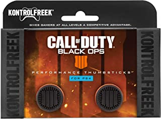 KontrolFreek Call of Duty: Black Ops 4 para mando de PlayStation 4 (PS4) | Performance Thumbsticks | 2 Gran Altura | Negro/Naranja