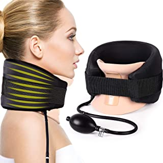 Cervical Neck Traction Device Inflatable Neck Stretcher Collar for Neck Pain Relief, Adjustable Neck Support Brace with Air Inflation Pump for Cervical Spine Alignment and Neck Decompression