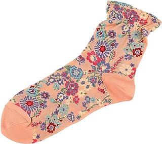 [靴下屋]クツシタヤ ガーゼ調フラワー総柄ソックス 22.0~23.0cm 日本製 柄ソックス