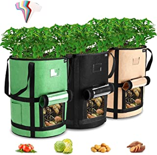 $24 » Sponsored Ad - Tvird Potato Grow Bags,3 Pack-7 Gallon Upgrade Plant Grow Bags with Long Suspended Handle &Side Tool Storag...