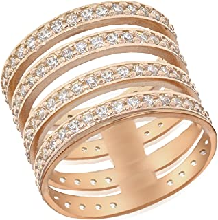 Tuscany Silver 标准纯银玫瑰金镀金方晶锆石4戒指