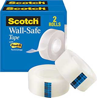 Scotch Wall-Safe Tape, Repositionable, Engineered for Posting, 3/4 x 800 Inches, Boxed, 2 Rolls (813S2)