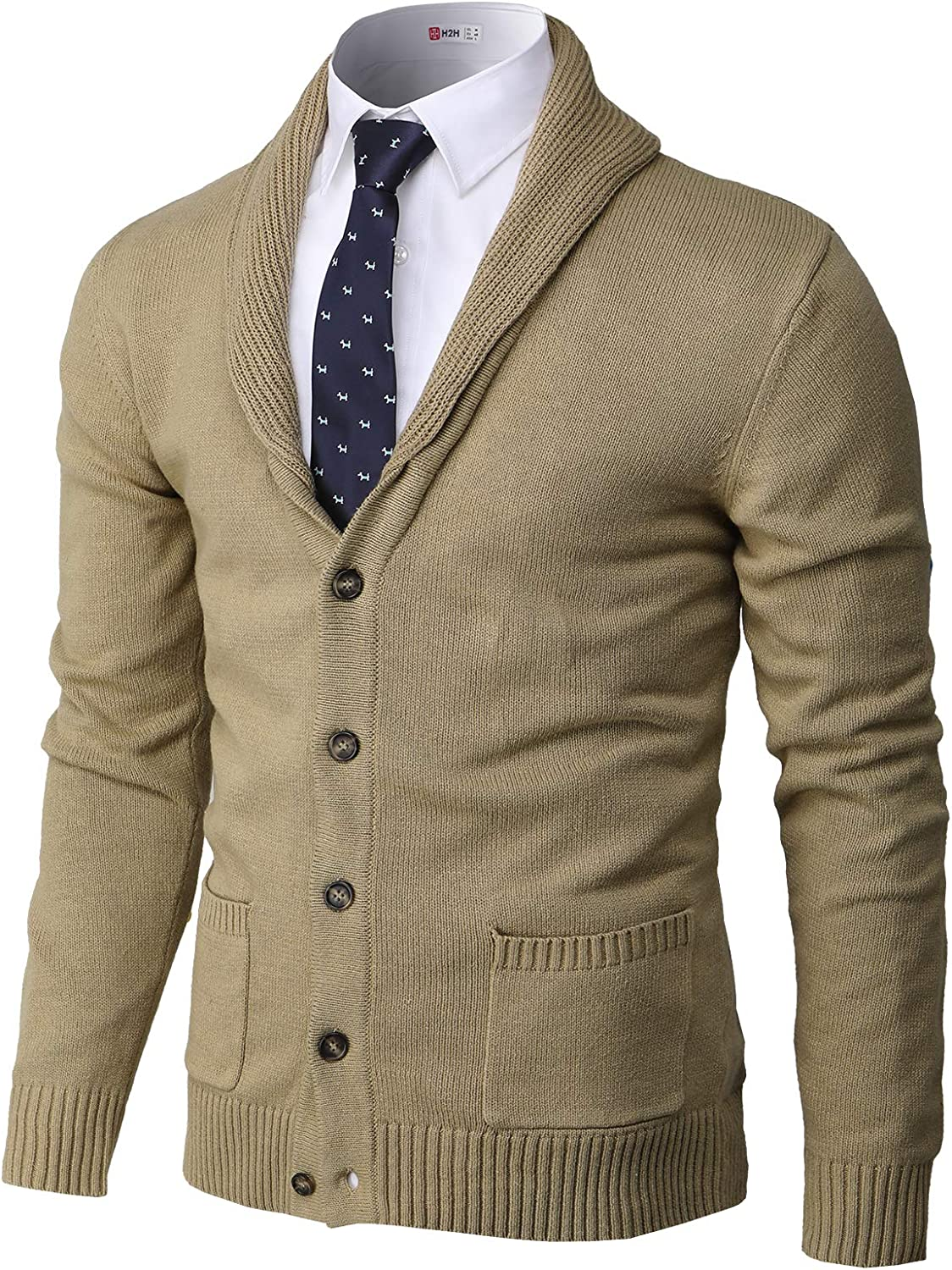 Mail order Tulsa Mall H2H Mens Casual Comfortable Fit Sweater Cardigan Shawl So Collar