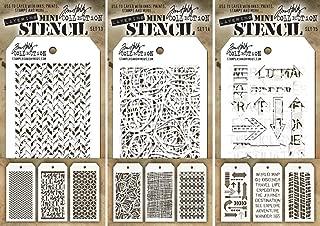 Tim Holtz - Nine Mini Layering Stencils - Herringbone, Countdown, Blocks, Scribbles, Burlap, Argyle, Arrows, Traveler and Treads - aka sets 13, 14 & 15