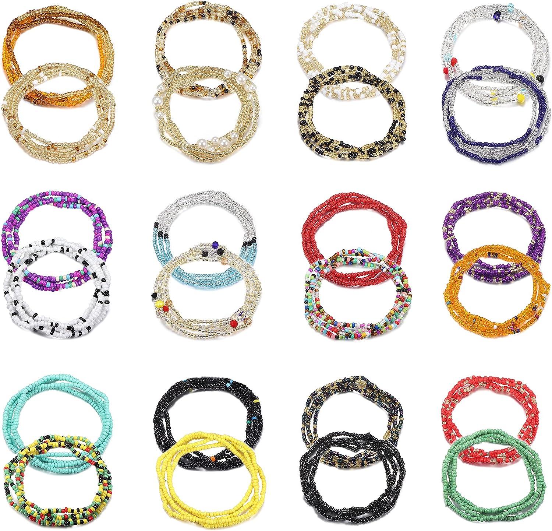 Ubjuliwa 24PCS Waist Bead Chains for Women Colorful Summer Jewelry Bikini Body Chain Elastic Belly Beaded Body Waist Belly Chain Set