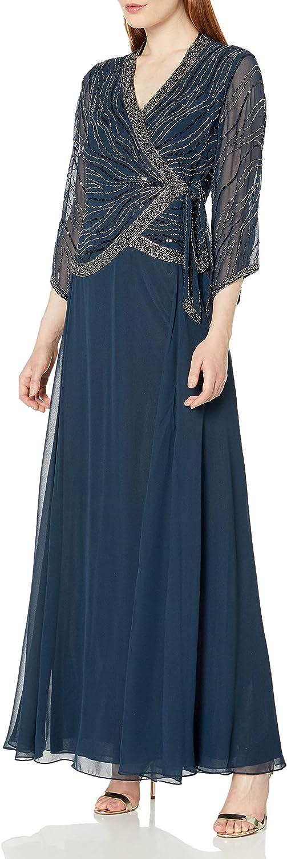 J Kara Women's Petite Long 3/4 Sleeve V-Neck Beaded Faux Wrap Dress