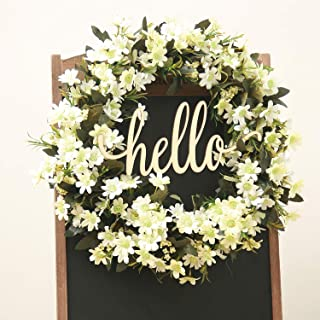FAVOWREATH 2019 Vitality Series FAVO-W163 Handmade 18 inch Hello Letter,Grass,Daisy Leaf,Grapevine Wreath for Fall Front Door/Wall/Fireplace Floral Hanger Home Every Day Decor