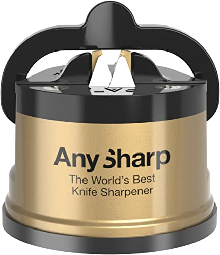 AnySharp Knife Sharpener, LTD Edition Gold, The World's Best As Seen on QVC, Original Patented Tungsten Carbide Pro S...