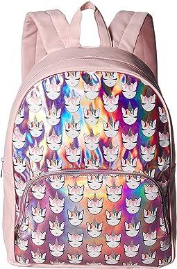 Unicorn Print Hologram Large Backpack