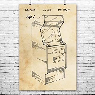 Arcade Video Game Cabinet Poster Print, Classic Gaming, Retro Gamer Gift, Arcade Game, Vintage Game System, Pac Man Vintage Paper (8