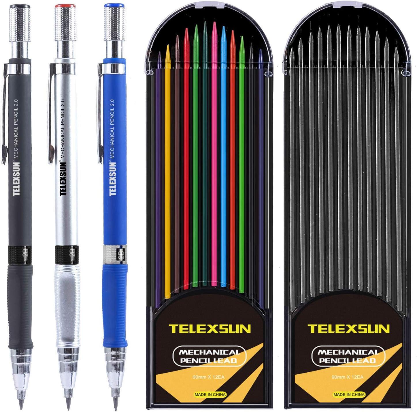 Mechanical Pencil Set - 3 Pack Mechanical Pencil with 2 Cases Le